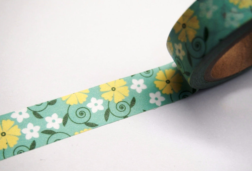 Yellow Floral Print Washi Tape 15mm WT269 - CharmTape - 1