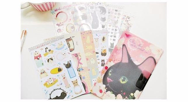 Jetoy Choo Choo cat Stickers Set including folder 8 Sheets - CharmTape - 1