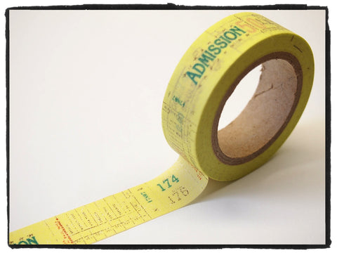 Yellow admission ticket Washi Tape 15mm x 10m WT289 - CharmTape - 1