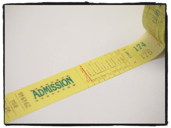 Yellow admission ticket Washi Tape 15mm x 10m WT289 - CharmTape - 2