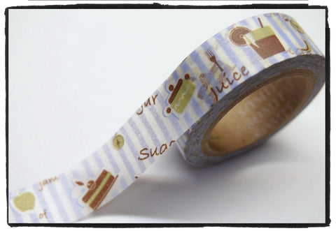 Dessert & Blue Stripes Washi Tape 15mm WT282 - CharmTape - 1