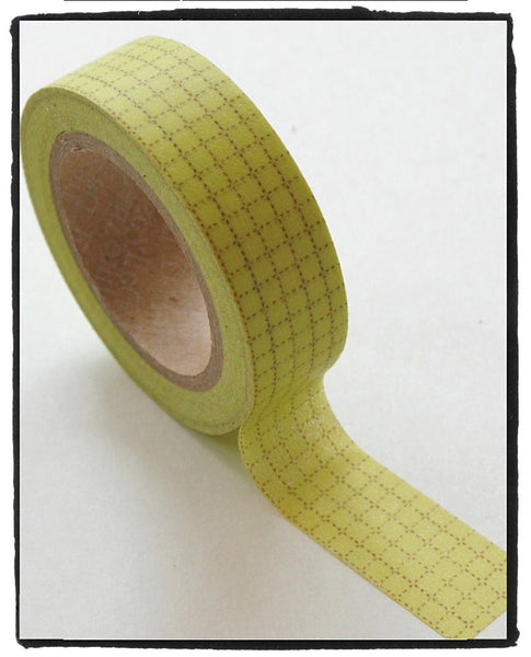 Yellow Grid Washi Tape 15mm x 10x WT314 - CharmTape - 1