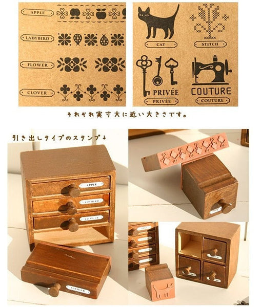 Wooden Deco Rubber Stamp Set - CharmTape - 4