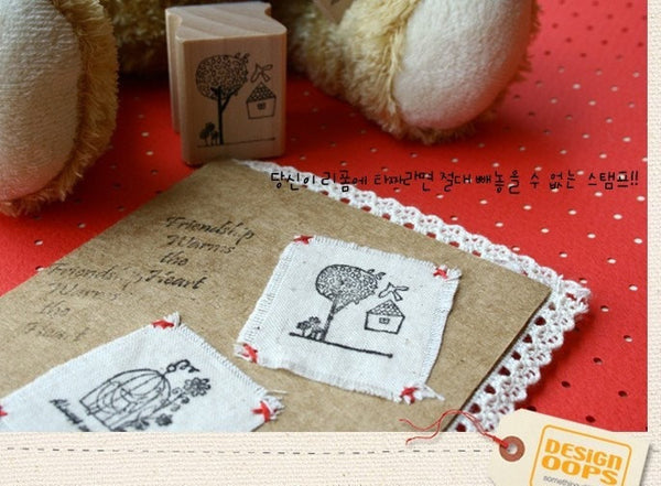 Wooden Stamp - Bird Theme including ink pad pen - CharmTape - 4