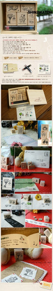 Wooden Stamp - Bird Theme including ink pad pen - CharmTape - 2