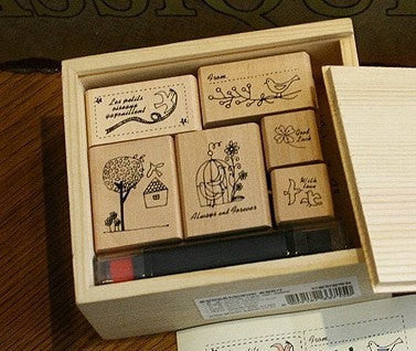 Wooden Stamp - Bird Theme including ink pad pen - CharmTape - 1