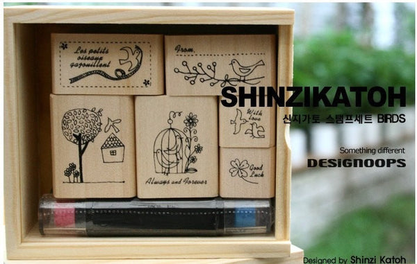Wooden Stamp - Bird Theme including ink pad pen - CharmTape - 5