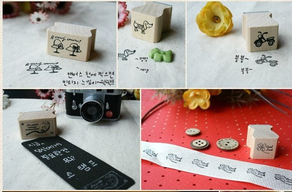 Wooden Stamp - Bird Theme including ink pad pen - CharmTape - 3