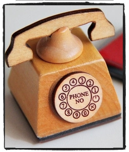 Hand Dail Telephone Wood mounted Rubber Stamp - CharmTape - 1