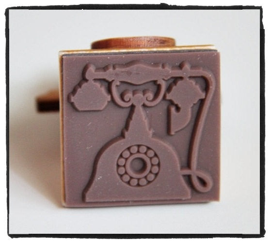 Hand Dail Telephone Wood mounted Rubber Stamp - CharmTape - 2