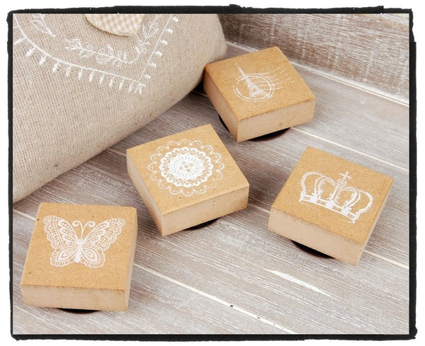Wood mounted Rubber Stamp - Crowns, Eiffel towers, butterfly & lace illustration - CharmTape - 1