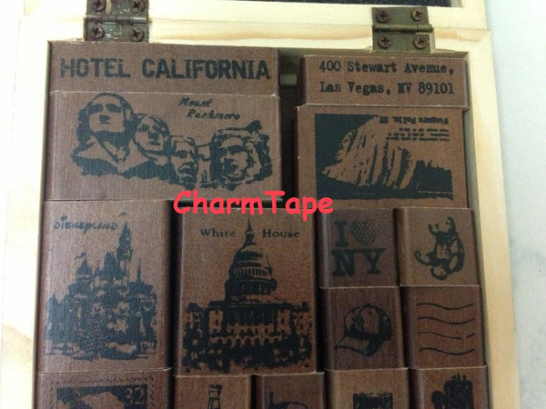 Wooden Deco Rubber Stamp Set (1 wooden box, 22 stamps) American Life - CharmTape - 4