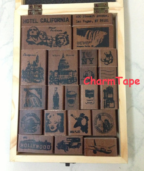 Wooden Deco Rubber Stamp Set (1 wooden box, 22 stamps) American Life - CharmTape - 2