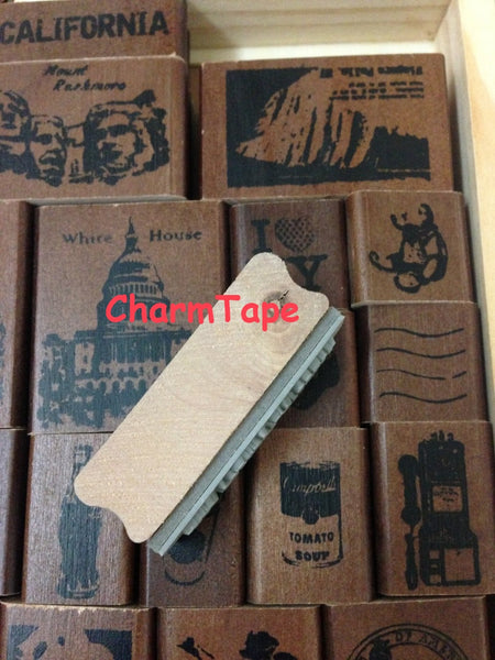 Wooden Deco Rubber Stamp Set (1 wooden box, 22 stamps) American Life - CharmTape - 3