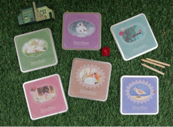 Korean Card Set in tin box - Fairy tale Birds & animals - CharmTape - 5