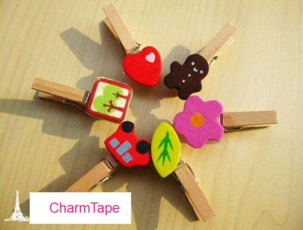 Wood Clothes-Pin clip - Set of 48 in 6 Designs - CharmTape - 2