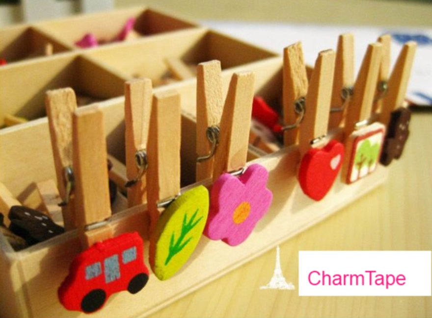 Wood Clothes-Pin clip - Set of 48 in 6 Designs - CharmTape - 1