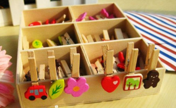 Wood Clothes-Pin clip - Set of 48 in 6 Designs - CharmTape - 3