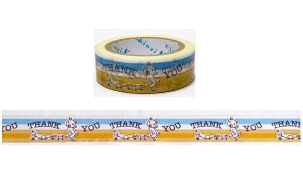 Thank you & Bear Washi Tape Full Roll 11yards by Shinzi Katoh WT339 - CharmTape - 2