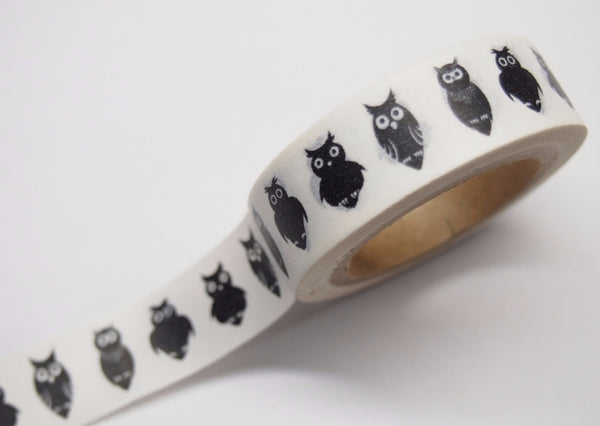 Black Owls Washi Tape 15mm WT388 - CharmTape - 1