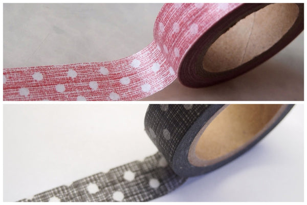 Washi Tape Roll - drawn polka dots 15mm x 10m WT398 - CharmTape - 1
