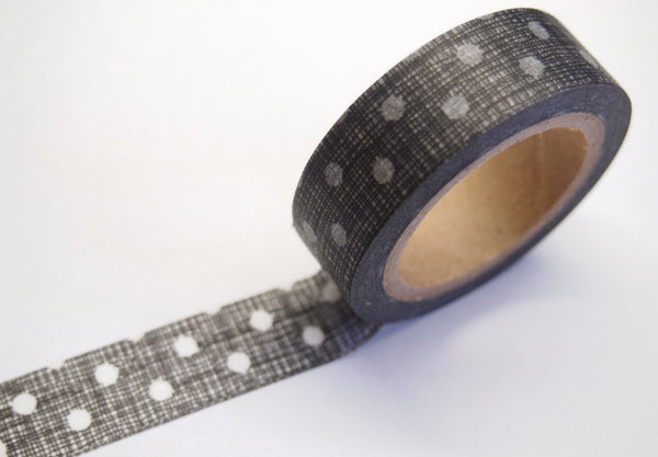 Washi Tape Roll - drawn polka dots 15mm x 10m WT398 - CharmTape - 3