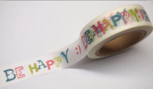 Be Happy Washi tape 15mm x 10m WT407 - CharmTape - 1
