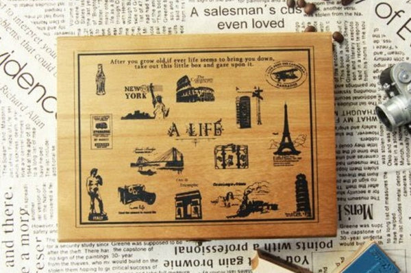 Wooden Cute Deco Rubber Stamp Set (1 wooden box, 21 stamps) eiffel towers, European holidays - CharmTape - 1