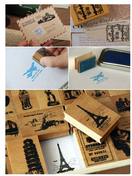Wooden Cute Deco Rubber Stamp Set (1 wooden box, 21 stamps) eiffel towers, European holidays - CharmTape - 4