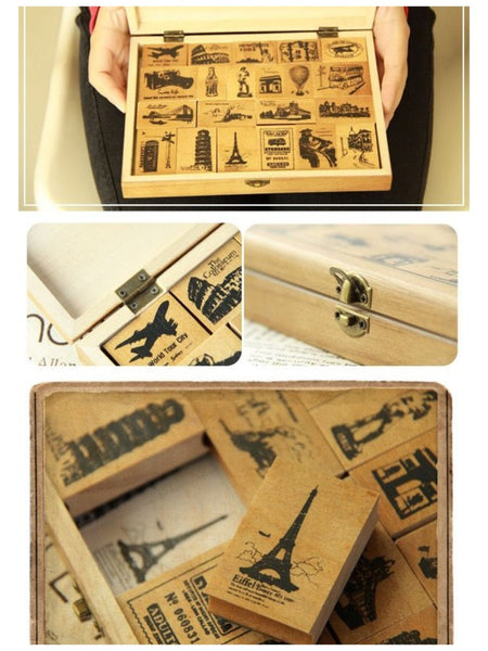 Wooden Cute Deco Rubber Stamp Set (1 wooden box, 21 stamps) eiffel towers, European holidays - CharmTape - 3