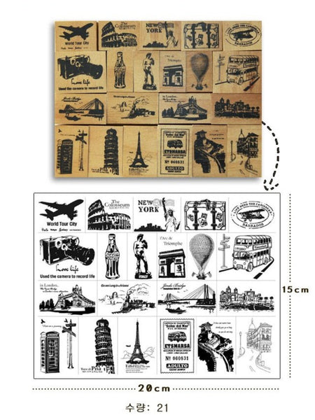 Wooden Cute Deco Rubber Stamp Set (1 wooden box, 21 stamps) eiffel towers, European holidays - CharmTape - 2