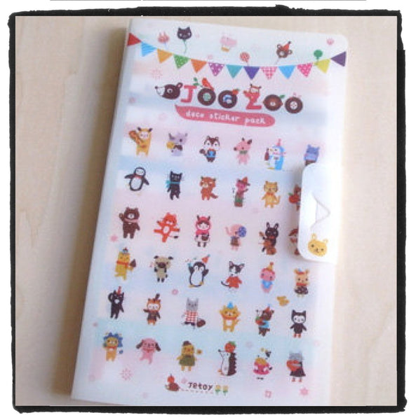 Jetoy Zoo Paper and Translucent Stickers set 8 Sheets with folder - CharmTape - 2