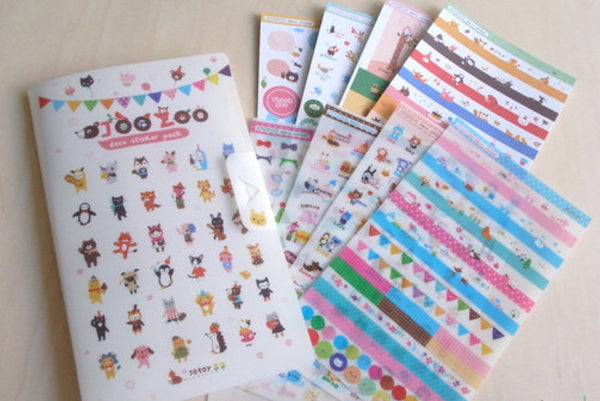 Jetoy Zoo Paper and Translucent Stickers set 8 Sheets with folder - CharmTape - 1
