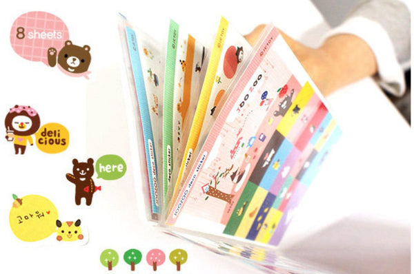 Jetoy Zoo Paper and Translucent Stickers set 8 Sheets with folder - CharmTape - 4