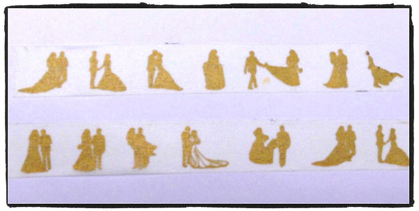 Golden Dancing Couple Washi tape 15mm x 11 yards WT420 - CharmTape - 1