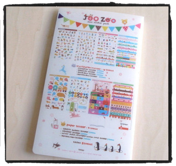 Jetoy Zoo Paper and Translucent Stickers set 8 Sheets with folder - CharmTape - 5