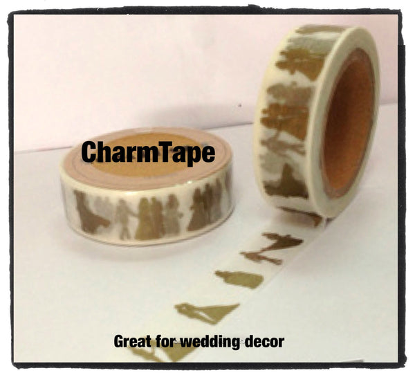 Golden Dancing Couple Washi tape 15mm x 11 yards WT420 - CharmTape - 2
