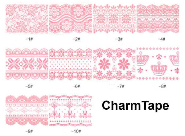 White // Pink Lace Transparent Jumbo Deco Tape - CharmTape - 2