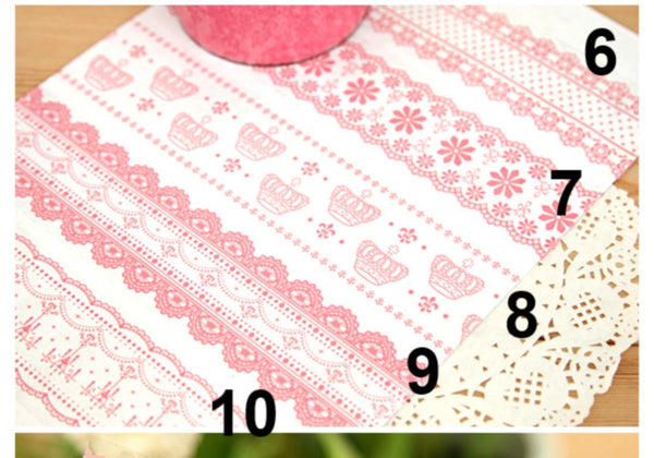 White // Pink Lace Transparent Jumbo Deco Tape - CharmTape - 1
