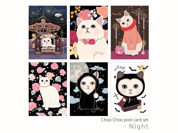 Jetoy Choo Choo cat Postcard set - Night 6 sheets - CharmTape - 1
