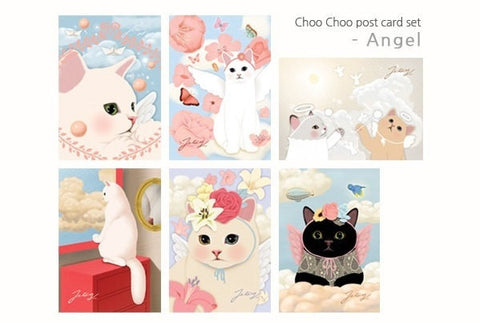 Jetoy Choo Choo cat Postcard set - Angel 6 sheets - CharmTape - 1