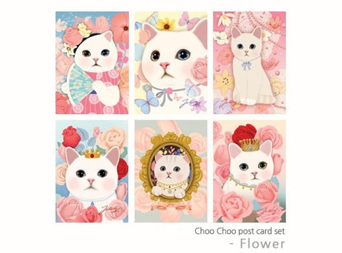 Jetoy Choo Choo cat Postcard set - romantic flowers 6 sheets - CharmTape - 1