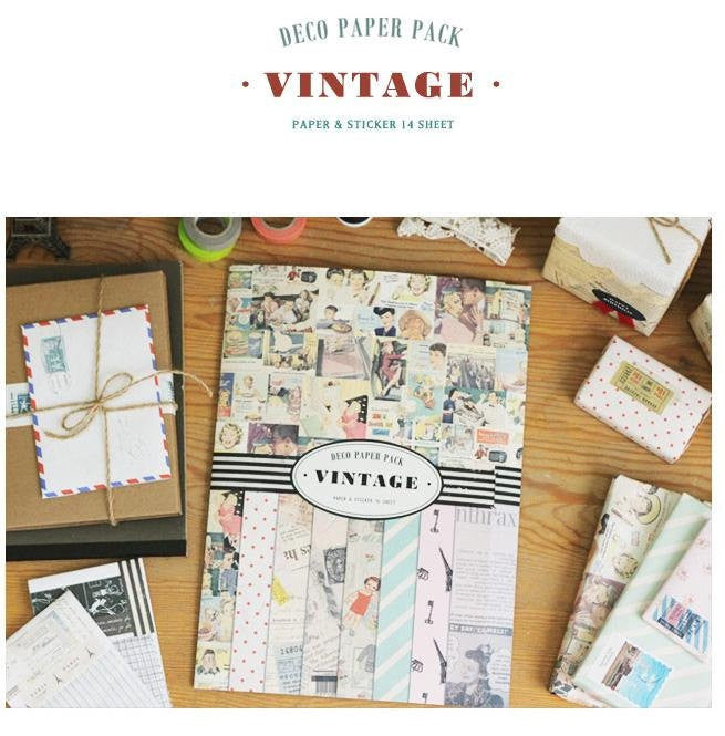 Vintage Deco Paper & Sticker Pack (14 sheets) - CharmTape - 1