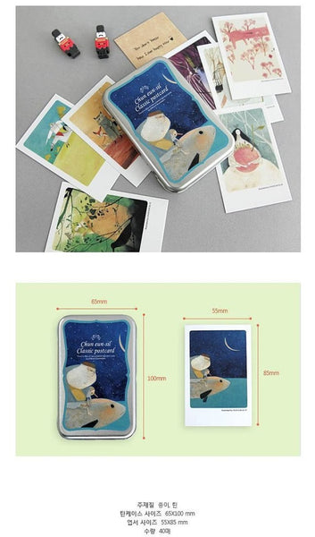 Korea illustration Mini Postcard Pinocchio  (Tin Case 40 sheets) Chun eun-sil Classic - CharmTape - 5