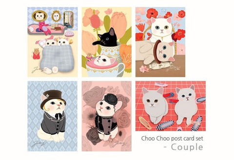 Jetoy Choo Choo cat Postcard set - Couple in love 6 sheets - CharmTape - 1