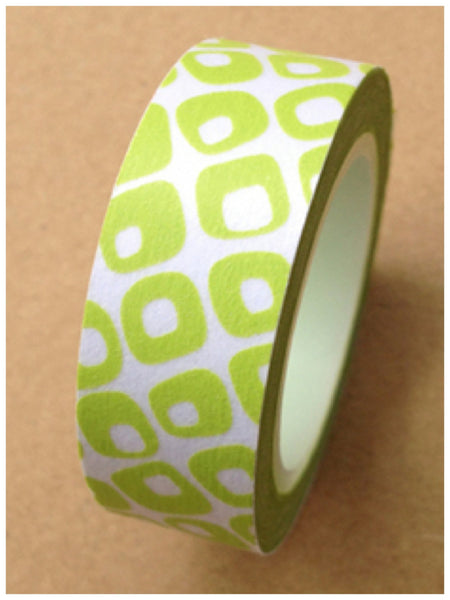 Green geometric Washi Tape 15mm WT406 - CharmTape - 3