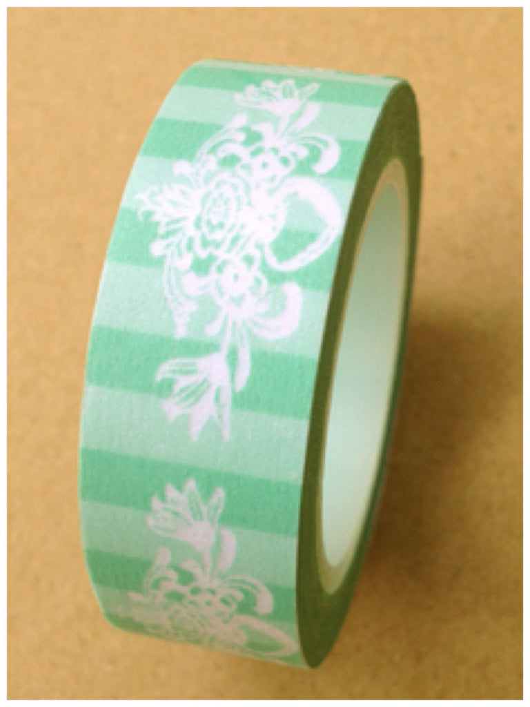 Green stripes Motif Washi Tape 15mm 11yards WT398 - CharmTape