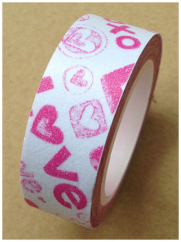 Pink Love Washi Tape 15mm 11yards WT403 - CharmTape
