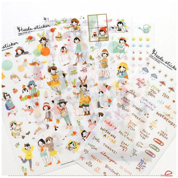 Heeda plastic Stickers set - 6 sheets SS515 - CharmTape - 1