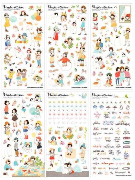 Heeda plastic Stickers set - 6 sheets SS515 - CharmTape - 3